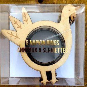 Wooden Turkey Napkin Rings Set of 8